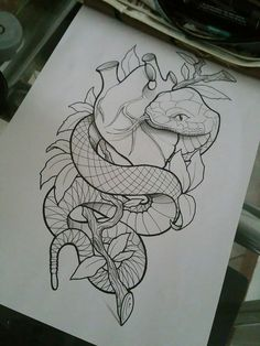 I like this, would change a few things tho Pencil Art Drawings, Cool Art Drawings, Art Drawings Sketches, Tattoo Sketches, Tattoo Drawings, Kunst Tattoos, Body Art Tattoos, Sleeve Tattoos, Snake Drawing