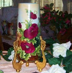 "Impressive Limoges 1900's Hand Painted ""Deep Red & Pink Poppy"" 14-1/4"" Vase"