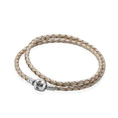 Champagne double leather bracelet