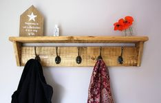 INDIA Coat Rack with Shelf /& 4 Hooks.French Country.Old Time Wood Finish.Rustic