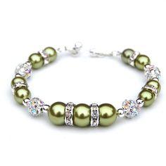 Limón verde perla Rhinestone pulsera joyería de Dama de