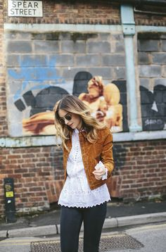The Northern Quarter, white blouse, simple, style, fashion, suede jacket, jeans, sunglasses, spring