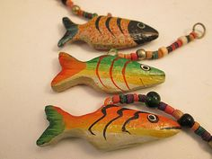 Close Out Beads Wood Vintage Painted Fish Danglers  by FLcowgirls, $3.99