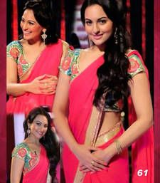 Buy Coral Thread work Georgette saree with blouse sonakshi-sinha-saree online