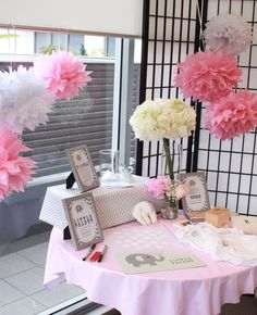 Pink Grey Baby Shower Love the decorated jar Baby Shower
