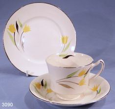 Antique Dishes Yellow | James Kent Yellow Tulips Vintage Bone China Tea Cup, Saucer and Tea ...