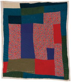 Quilts of Gees Bend / q119-08b.JPG Amelia Bennett, born 1914. Blocks and strips, 1950s, cotton twill, printed and solid corduroy, synthetic knit crepe, 80 x 74