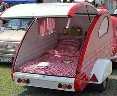 Probably one of the smallest cars on the streets these days. A vintage Fiat is shown here pulling a matching retro teardrop trailer. As you see below the retro teardrop camper is outfitted in coord… Small Camper Trailers, Small Trailer, Small Campers, Cool Campers, Travel Trailers, Happy Campers, Camping Ideas, Camping Glamping, Camping Pod