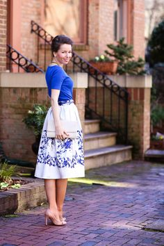 …a new midi favorite! I adore the light, satin fabric and the blue floral patterns.   @chicwish #ootd #summer #spring #fashion #vintage #classic #ladylike #blue #feminine #whatiwore