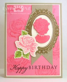 1/30/2013; Lynn Putt at 'The Queen's Scene' blog; Simply Jane, The Sweet Life and Think Big Favorites stamp sets; crumb cake card base, then a panel of vanilla and  regal rose which is stamped with roses from The Sweet Life set; feminine and lovely!!