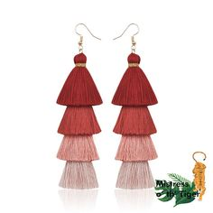 Bohemian Fringe Long Earrings These are stylish earrings you can pair with any outfit. Please allow weeks for delivery depending on location. Green Tassel Earrings, Feather Earrings, Women's Earrings, Tassel Jewelry, Fringe Earrings, Jewellery, Statement Earrings, Look Chic, Shape Patterns