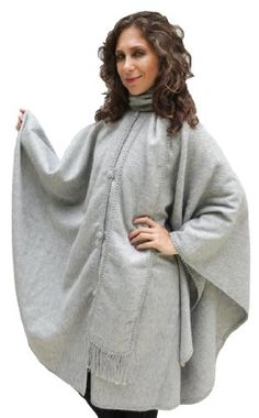 9cc7a7d09 Alpaca Wool Cape Cloak with matching Scarf, Silver Gray at Amazon Women's  Clothing store: