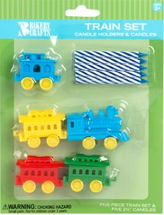You will receive a 5 piece plastic choo-choo train set (with rail cars) along with 5 candles to put on top of birthday cake. The train cars latch together - use as many or few as you need. Total lengt
