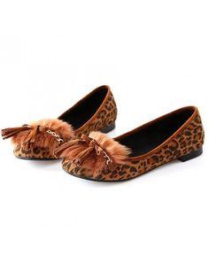 Tie Tassel Fur Decorated Leopard Suede Flats