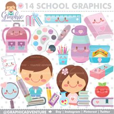 School Clipart, School Graphics, COMMERCIAL USE, Kawaii Clipart, Study, Back to School Clipart, Planner Accessories, College Clipart