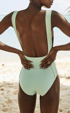 This **Three Graces London** Attila Strap Detail Swimsuit features high leg style with square front neckline and inserted strap detail. Bikini 2018, The Bikini, Fashion Mode, Look Fashion, Bikinis, Swimwear, Bikini Poses, Cute Swimsuits, Vintage Swimsuits