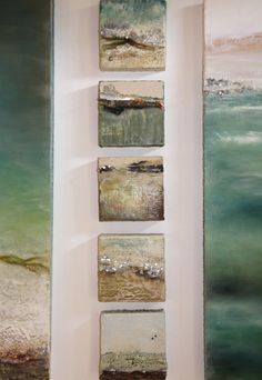 "Robin Luciano Beaty - Encaustic sea scape; ""Above and Beyond"" - 6"" x 6"" each - Encaustic, mixed media, found objects"