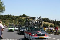 Team cars carrying spare bikes at the 2013 Tour de France.