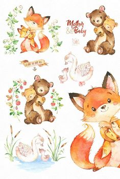 Mother And Baby. by StarJam on Creative Market Mother And Baby. by StarJam on Creative Market Mother And Baby. by StarJam on Creative Market Watercolor Art Diy, Watercolor Animals, Fuchs Illustration, Cute Animal Illustration, African Art Projects, Baby Drawing, Baby Art, African Animals, Mother And Baby