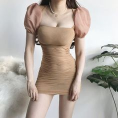 Mesh perspective low-cut square collar puff sleeve pleated dress · FE CLOTHING · Online Store Powered by Storenvy Korean Outfits, Sexy Outfits, Cute Outfits, Fashion Outfits, Fashion Tips, Sheath Dress, Bodycon Dress, Bustier Dress, Estilo Kylie Jenner