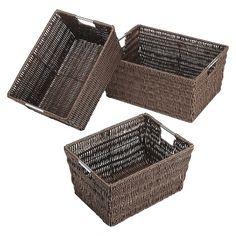 Whitmor Rattique Nesting Decorative Basket Set of 3  - Brown