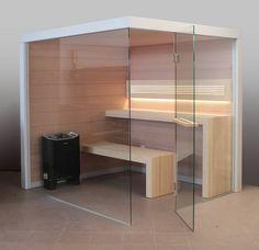 Sauna Perfect Line - sauna w naturalnych, jasnych barwach – ściany wykonane w akacji, natomiast unikalne rozwiązanie ław wykonane jest w Abachi. Nowoczesna sauna domowa. #sauna #sauny #wellness Sauna Ideas, Sauna Design, Spa, Infrared Sauna, Saunas, Lofts, Relax, Houses, Shower