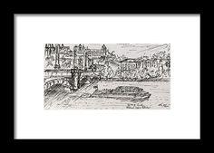 Vltava River, Prague Framed Print by Kelly Goss Prague Czech, Famous Landmarks, Wall Art For Sale, Wild Dogs, Travel Memories, Czech Republic, Special Gifts, Pet Dogs, Spice