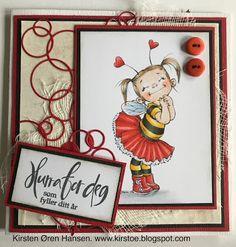 Enda et bursdagskort! Whippets, Copic Markers, Bee, Cards, Decor, Honey Bees, Decoration, Bees, Maps