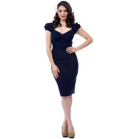 Stop Staring! 1940s Style Navy Billion Dollar Baby Wiggle Dress #uniquevintage