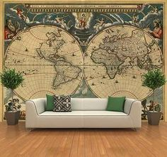 Self Adhesive Ancient World Map Decorating Mural Art