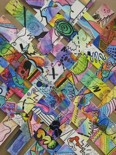 Create lines or other Elements of Art on strips of paper and then weave. Could be used in a collaborative art piece.: