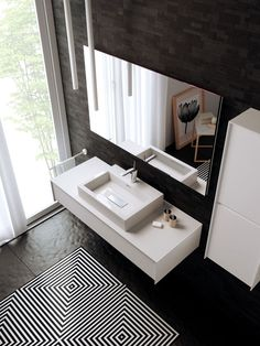 1 DRAWER, WALL-MOUNTED TALL UNIT WITH TWO DOORS AND MIRROR. THE DOORS AND DRAWERS ARE MATT LACQUERED WHITE. THE TOP AND SIDES OF THE DRAWERS AND TALL UNIT ARE IN DURALIGHT®. ALL THE INSIDEOUT FURNITURE UNITS CAN BE CUSTOMISED SIMPLY BY SPECIFYING THE DESIRED RAL OR PANTONE.