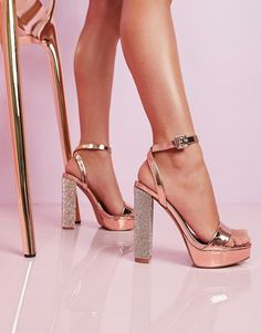 Find the best selection of ASOS DESIGN Luxe Nutshell embellished platform barely there heeled sandals in rose gold. Shop today with free delivery and returns (Ts&Cs apply) with ASOS! Pretty Shoes, Cute Shoes, Bridal Shoes, Wedding Shoes, Gold Evening Shoes, Gold Heels, Rose Gold Platform Heels, Rose Gold Sandals, Prom Heels