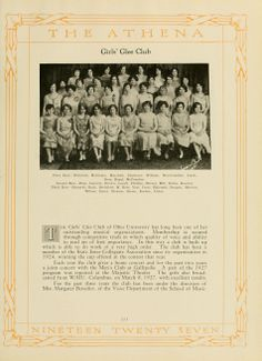 "Athena yearbook, 1927. The ""Girls' Glee Club"" group photo showed off fancy dresses. :: Ohio University Archives"
