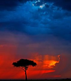 Strange but beautiful colors of sunset