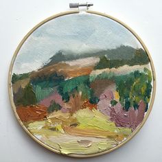 Painting no.1 in the new space  Scottish landscape  oil on canvas  20 cm diameter by ondineseabrookart