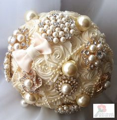 Ivory satin ribbon rose brooch bouquet. Fabric brooch bouquet. Brooch bouquet. Ribbon rose bouquet. Ivory brooch bouquet