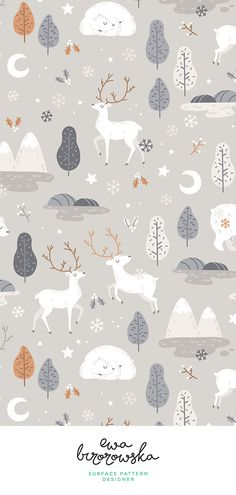 New Ideas Christmas Wallpaper Pattern Kids Cute Christmas Wallpaper, Winter Wallpaper, Trendy Wallpaper, Cute Wallpapers, Kids Wallpaper, Winter Illustration, Christmas Illustration, Forest Illustration, Christmas Pattern Background