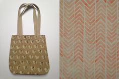 Hepphabit block printed canvas tote bag - birds or stripes
