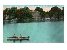 East Hampton, Connecticut, Lake Pocotopaug View of Kayrock Inn Premium Poster
