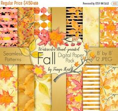 VENTE papier aquarelle papier digiscrap automne par ATArtDigital