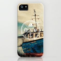 Blue Brown Vintage Nautical Anchor Sailing Boat iPhone & iPod Case by Railton Road - $35.00