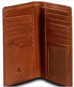 VISCONTI LUXURY ITALIAN TAN LEATHER LONG SLIM WALLET BOXED VCN20 - BEST SELLER