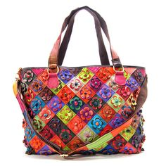 @Overstock - This roomy tote bag has a colorful construction with bold checkers and floral appliques. The bonded leather exterior ensures durability while handy pockets keep you organized in style.http://www.overstock.com/Clothing-Shoes/Womens-Americana-Multicolored-Checkmate-Tote-Bag/7747674/product.html?CID=214117 $49.99