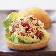 Tuna Tortas With Pico de Gallo  A squeeze of fresh lime juice, chopped tomatoes, chilies, and fresh cilantro transform canned tuna into a bold and delicious sandwich filling with hardly any fat. Or serve the filling over field greens drizzled with oil for a fast weeknight meal.