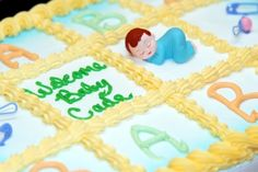Want a quick and easy baby shower cake idea Find all the baby shower party supplies, favor ideas, cake decorating ideas and baby shower games you need to host a wonderful baby shower. Baby Shower Cakes Pictures, Unique Baby Shower Cakes, Baby Shower Sheet Cakes, Baby Shower Cake Decorations, Baby Shower Cakes For Boys, Simple Baby Shower, Cake Pictures, Cake Images, Stork Cake