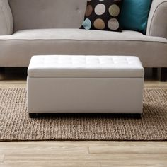 White Storage Bench Seat Table Bedroom Accent Furniture Footstool Living Room…