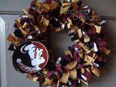 Florida State Seminoles Football Rag Wreath. $22.00, via Etsy.