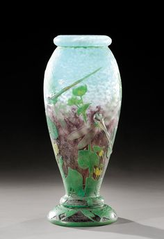 ** Daum Frères, Nancy, Applied and Etched Glass Vase.