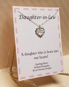 Daughter In Law Gift Born Into Our Hearts by BrilliantKeepsakes Daughter In Law Gifts, Heart Charm, Jewelry Box, Great Gifts, Hearts, Engagement, Sterling Silver, Jewel Box, Amazing Gifts